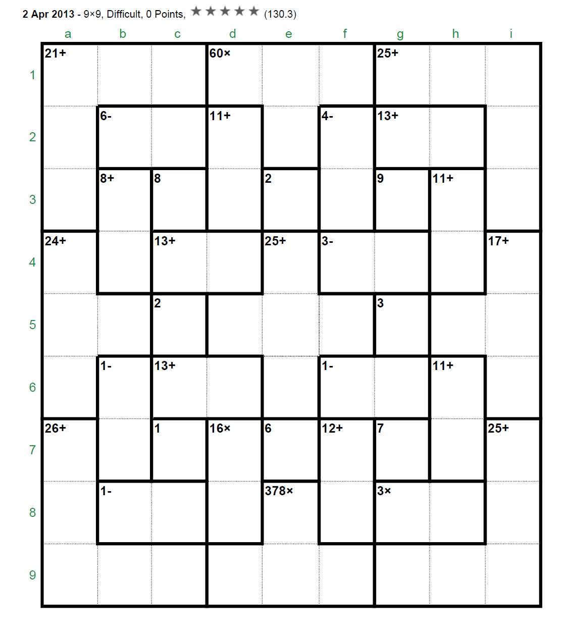Calcudoku puzzle forum - View topic - The most difficult 9x9